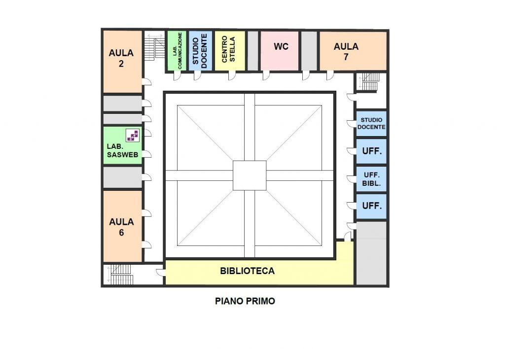 piantina del primo piano della sede di Santa Chiara