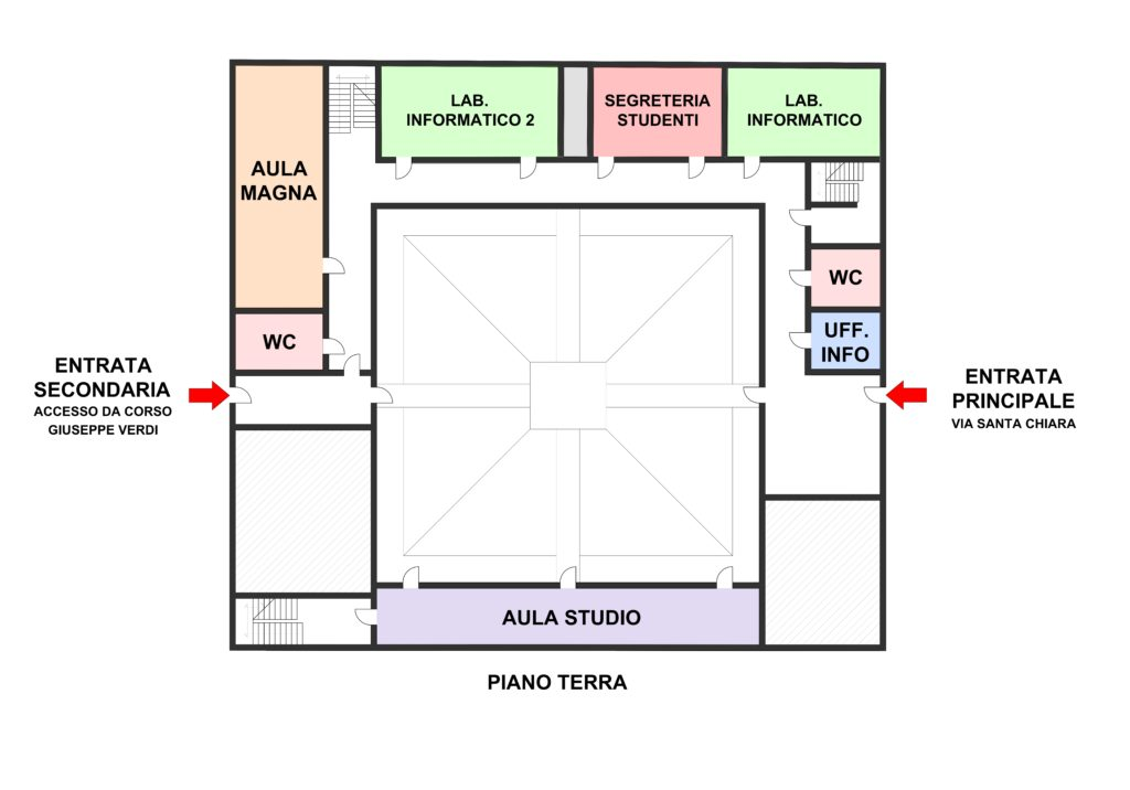 piantina del piano terra della sede di Santa Chiara