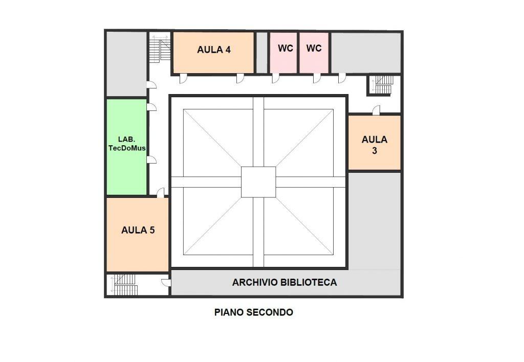 piantina del secondo piano della sede di Santa Chiara