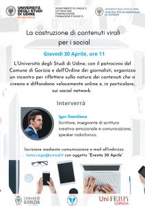 locandina della conferenza online La costruzione di contenuti virali per i social, con Igor Damilano